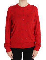 Dolce & Gabbana Womens Red Silk Cashmere Crystal Cardigan Sweater IT48 XL $1500+
