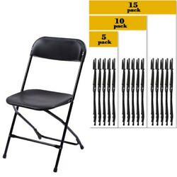 (5 to 15 PACK) Commercial Wedding Quality Stackable Plastic Folding Chairs Black