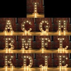 Alphabet Letter Lights Led Light Up White Wooden letters Standing Hanging Party