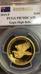 2015 $100 Gold Australian Wedge Tail Eagle High Relief PCGS PR70DCAM