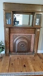 Antique Tiger Oak Empire Column Bookcase Mantle with Leaded Glass