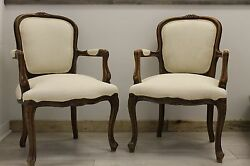 2 Antique Swedish Armchairs - Decorative Wood Carvings and New Upholstery