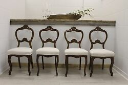4 Antique Swedish Chairs - Decorative Wood Carvings and New Upholstery