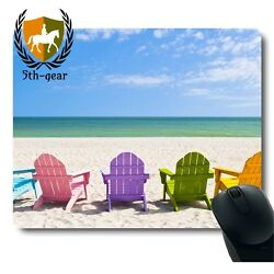 Adirondack Beach Chairs on a Sun Holiday Vacation Travel House Mouse Pad