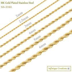 18K Gold Plated Stainless Steel Rope Chain Bracelet Necklace Men Women 2-8mm $5.29