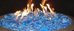 Fire Pit Glass Rock Propane Gas Beads Stones Turquoise Patio Heaters Outdoor 10