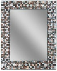 Earthtone Copper Bronze Mosaic Tile Wall Mirror 30 Inch W Vertical Hanging New