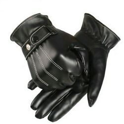 Men Luxury Synthetic Leather Winter Super Driving Warm Gloves Cashmere Tactical