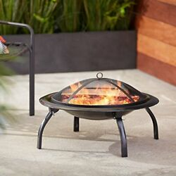 Portable Outdoor Folding Fire Pit  Steel Bowl Dual Grates Wood Burning Cooking