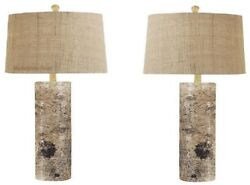 Aspen Tree Bark Table Lamps Burlap Shade Rustic Mountain Cabin Lodge Decor Set2