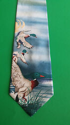 Field & Stream Mallard Duck Hunting Nature 100% Silk Neck Tie USA New with Tags