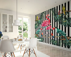 ohpopsi Island Life Flamingo Birds and Parrot Wall Mural Wall Art