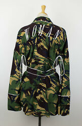 NWT OFF-WHITE co VIRGIL ABLOH Green Camouflage Silk Pajama Shirt Size S