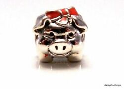 NWT  AUTHENTIC PANDORA SILVER CHARM  PIGGY BANK #791809ENMX HINGED BOX INCL