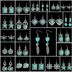 Fashion Tibetan Silver Vintage Turquoise Ear Hook DropDangle Earrings Jewelry
