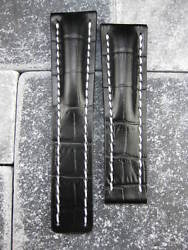 24mm Leather Strap Black Deployment Watch Band BREITLING NAVITIMER Large Long XL $37.50
