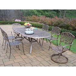 Oakland Living Mississippi 7-Piece Outdoor Dining Set with Swivel Chairs