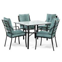 Hanover Outdoor Furniture Lavallette 5-Piece Square Glass Top Outdoor Dining Set
