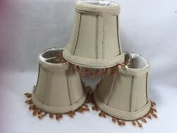3 Taupe Beige Chandelier Shades 4 Inches Beaded Beads Clip On 21647 $24.59
