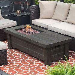 Propane Fire Pit Table Top Patio Rectangle Outdoor Gas Furniture Backyard Heater