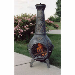 53-inch Tall Chimenea Outdoor Iron Firepit Patio Backyard Wood Burning Heater