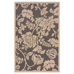Trans Ocean Terrace Charcoal Floral Outdoor Rug TER80177977 7-ft 10-in x 9-ft