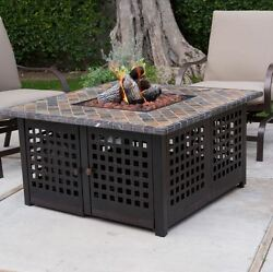 Propane Firepit Patio Furniture Outdoor Fireplace Heater Gas Table Cover Deck