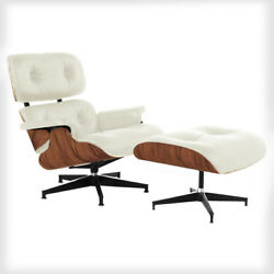 Lounge Chair and Ottoman Mid Century Modern FULL GRAIN Italian Ivory Leather