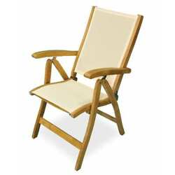 Regal Teak Teak Folding Reclining Sling Chair RC-CREAM