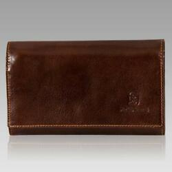 Marino Orlandi Italian Designer Mans Chestnut Glazed Leather Wallet Clutch Purse