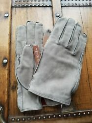 NWT Loro Piana Mens Suede Leather CashmereSilk Lined Gloves Sz L Italy $675