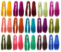 32 inch Long Straight Cosplay Anime party Carnival Wig heat resistant 29 Colors