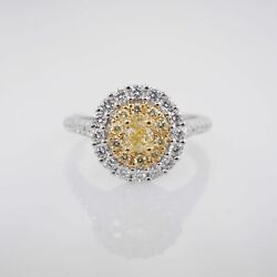 1.04CTW Fancy Yellow Oval Diamond Double Halo Engagement Ring 18k White Gold
