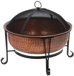 Copper Fire Pit Vintage Look Outdoor Wood Fireplace Spark Guard Vinyl Cover