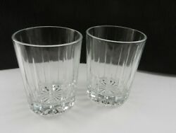 Contemporary Crystal Double Old Fashioned 2 Clear Vertical Cuts 4 1 4quot; T $12.00