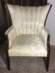 Hepplewhite Mahogany Wing Back Inlaid Silk Chair in Gold Damask