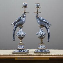 Oriental Bronze Ormolu Blue White Parrot Birds Porcelain Candle Holders Set2 $738.00