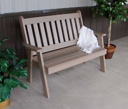 A&L Furniture Amish-Made Poly Traditional English Benches - 2 Sizes & 13 Colors