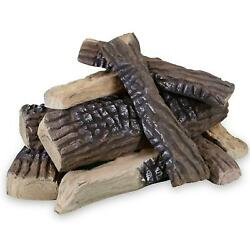 Fireplace Logs Ceramic Wood Gas Large All Types Fire Pit Accessories 10 Pieces
