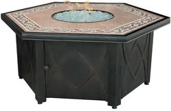 55 In. Hex Gas Fire Bowl Tile Mantel Simple Assembly Tools Needed Propane New