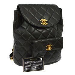 Authentic CHANEL Quilted CC Logos Chain Backpack Bag Black Leather VTG M11758