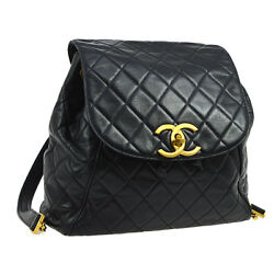 Auth CHANEL Quilted CC Logos Chain Backpack Bag Navy Leather Vintage AK09136