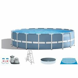 Intex 18 Feet x 48 Inches Prism Frame Swimming Pool Set w Cover Ladder
