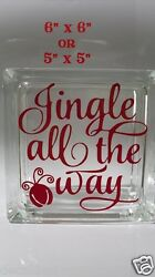 Jingle all the way Style 2 Christmas Decal sticker for glass block shadow box