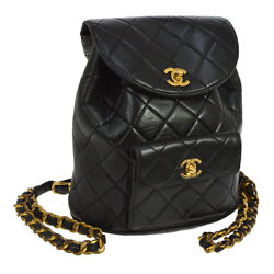 Authentic CHANEL Quilted CC Logos Chain Backpack Bag Black Leather VTG A35584