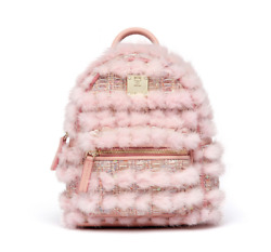 MCM Women's Stark Fur Tweed Backpack Pink X-Mini Size MWK7AVE08PV001 Authentic