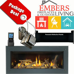 NAPOLEON LHD45 VECTOR LINEAR GAS FIREPLACE MODERN STYLO DRIFTWOOD KIT FULL DEAL
