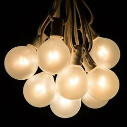 50 Foot Outdoor Globe Patio String Lights - Set of 50 G50 White Pearl 2 Inch