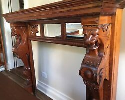 American Mahogany Carved Figural Griffin Fireplace MantelSurround With Mirrors