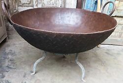 Antique Iron Kadai Fire Bowl Large Food Cooking Firepit Reuse Fishpond Plantter